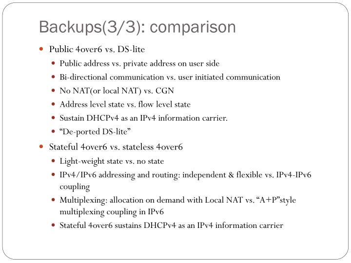 Backups(3/3): comparison