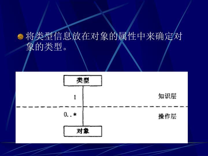 将类型信息放在对象的属性中来确定对象的类型。
