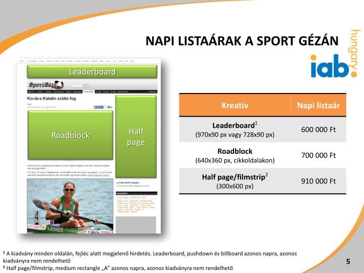 Napi listaárak a Sport Gézán