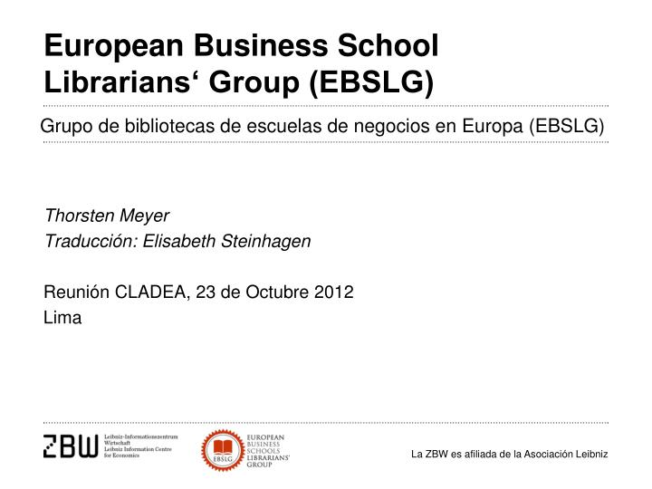 European business school librarians group ebslg