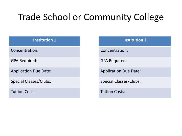 Trade School or Community College