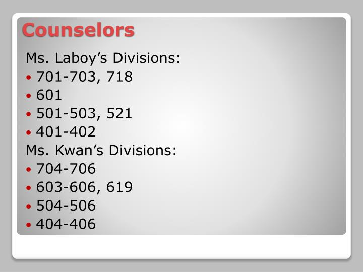 Ms. Laboy's Divisions: