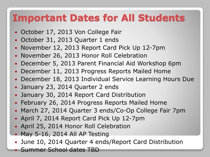 October 17, 2013 Von College Fair