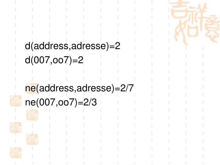 d(address,adresse)=2
