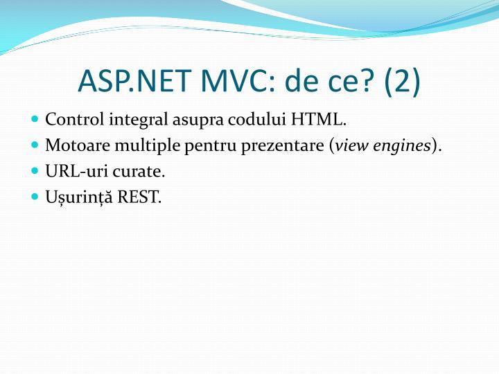 ASP.NET MVC: de ce?