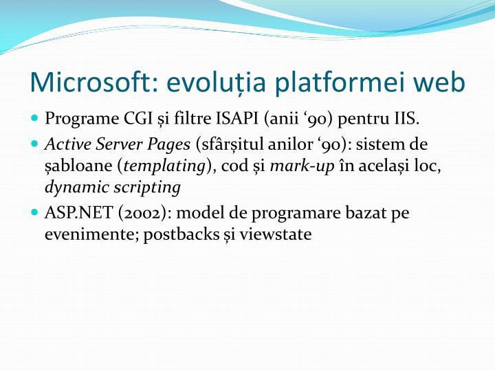 Microsoft: evoluția platformei web
