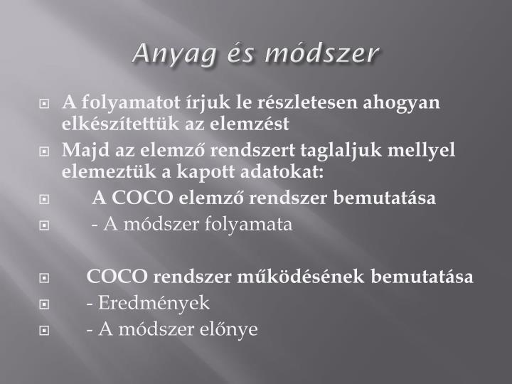 Anyag s mdszer