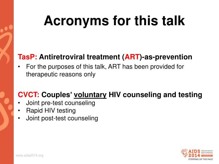 Acronyms for this talk