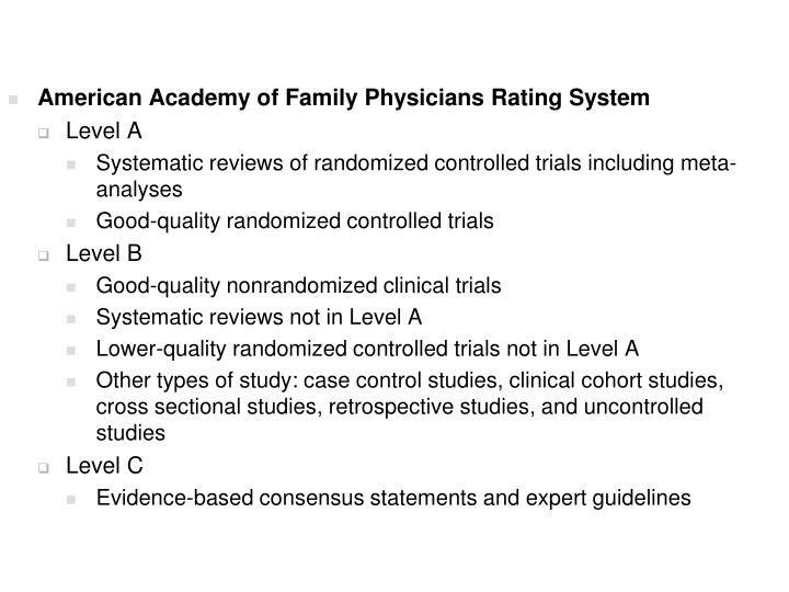 American Academy of Family Physicians Rating System