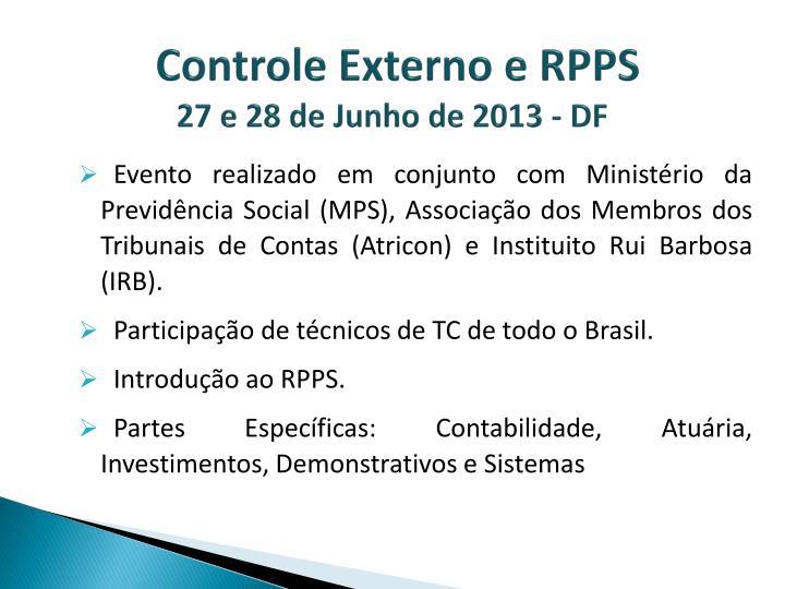 Controle Externo e RPPS