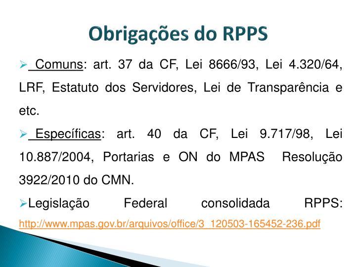 Obrigações do RPPS