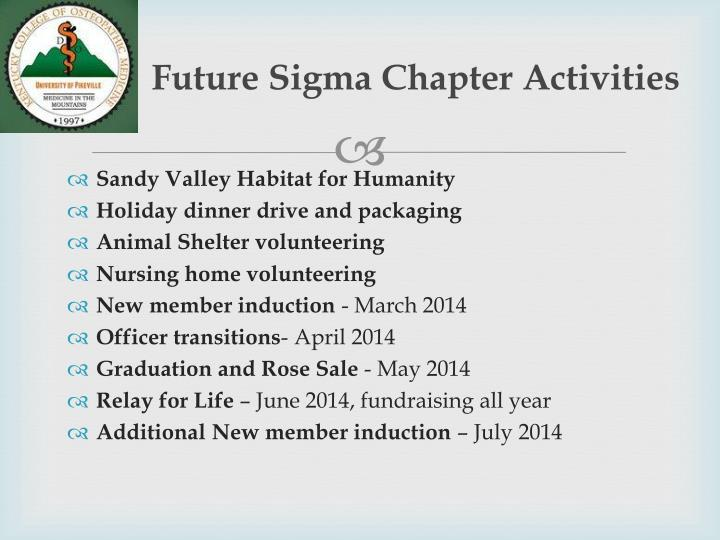 Future Sigma Chapter Activities