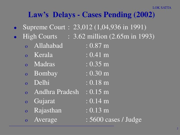 Law s delays cases pending 2002
