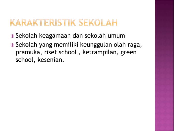 Karakteristik sekolah