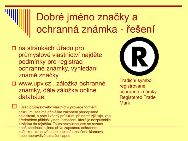 Dobré jméno značky a ochranná známka - řešení