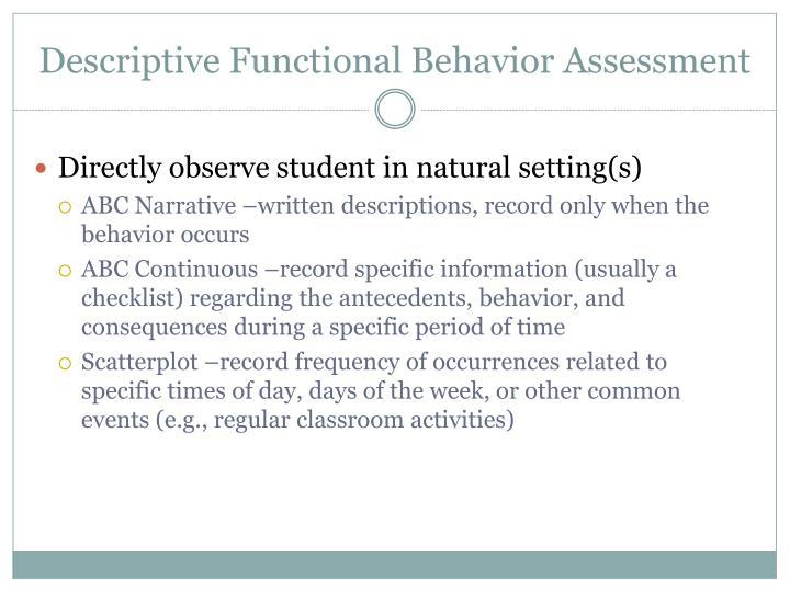 Descriptive Functional Behavior Assessment