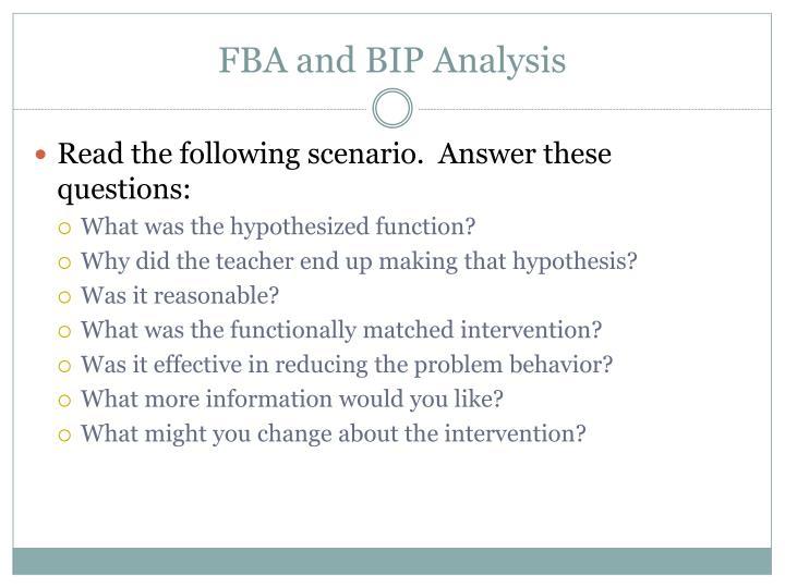 FBA and BIP Analysis