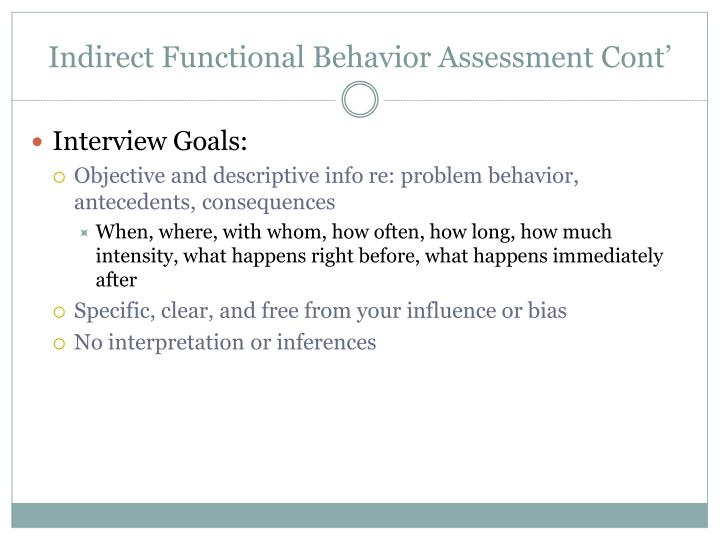 Indirect Functional Behavior Assessment Cont'