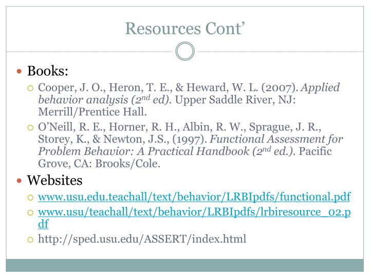 Resources Cont'
