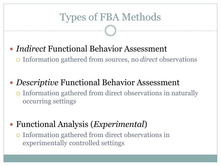 Types of FBA Methods