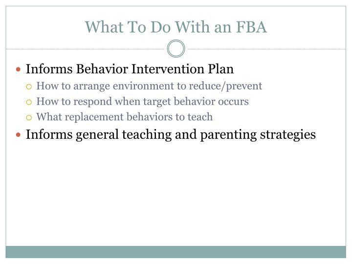 What To Do With an FBA
