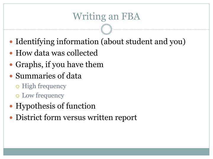 Writing an FBA