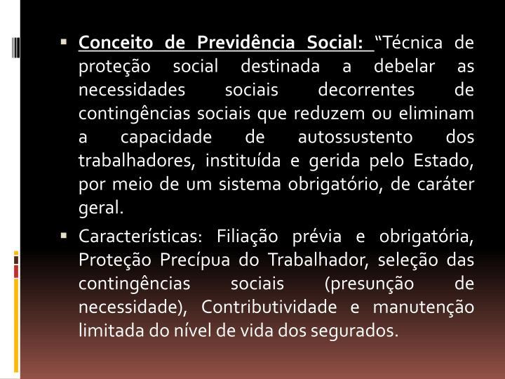 Conceito de Previdência Social: