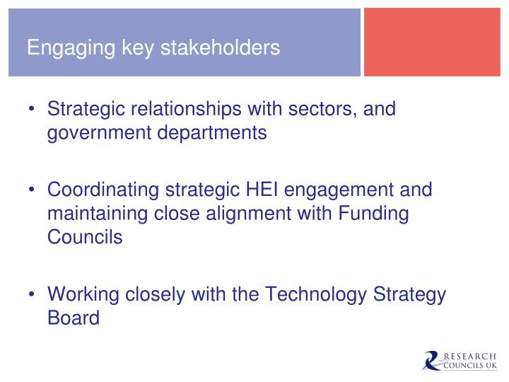 Engaging key stakeholders
