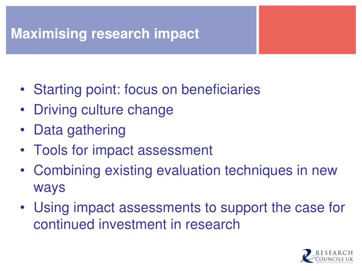 Maximising research impact