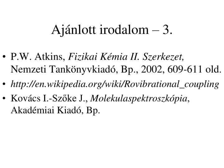 Ajánlott irodalom – 3.