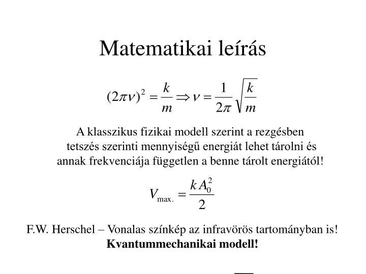 Matematikai leírás