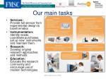 our main tasks