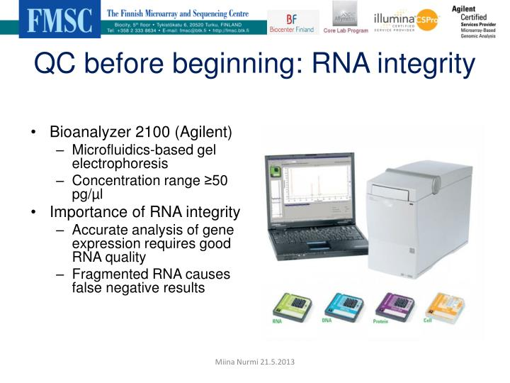 QC before beginning: RNA integrity