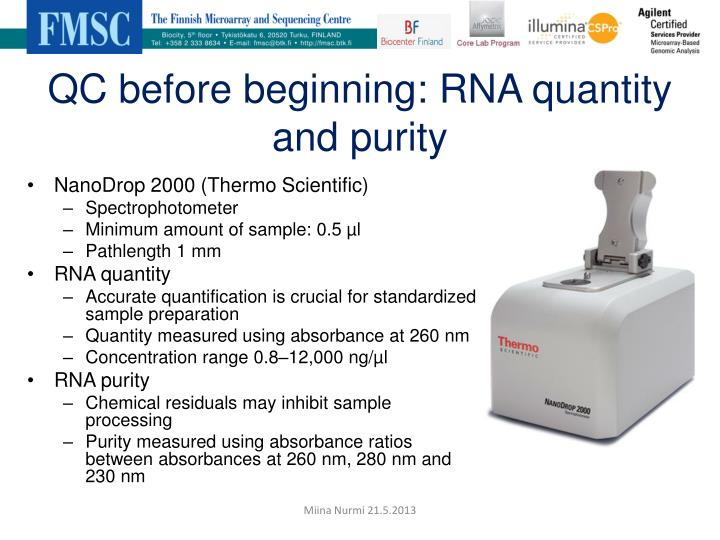 QC before beginning: RNA quantity and purity