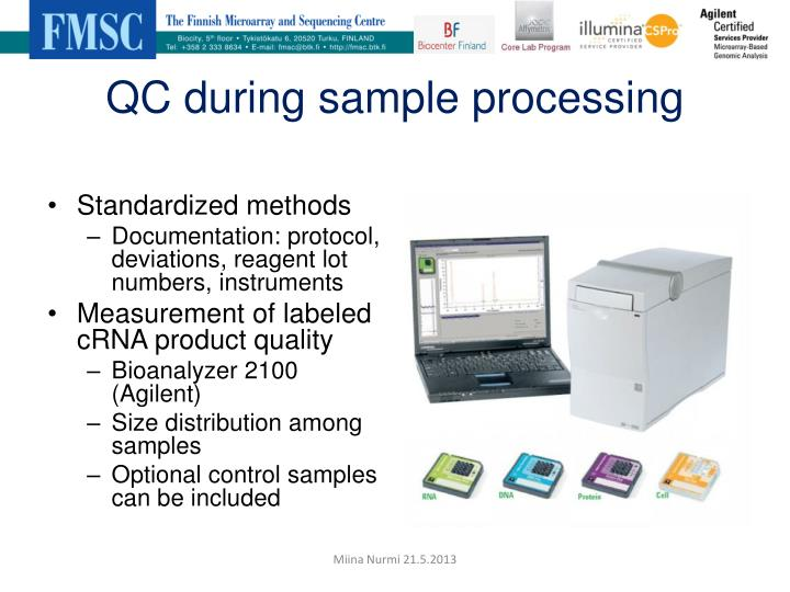 QC during sample processing