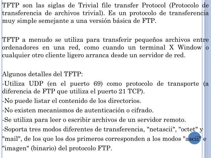 TFTP son las siglas de Trivial