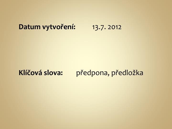 Datum vytvoření: