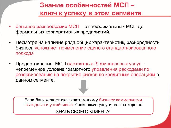 Знание особенностей МСП