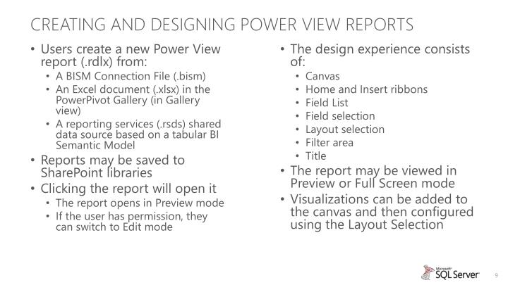 Creating and designing Power View Reports