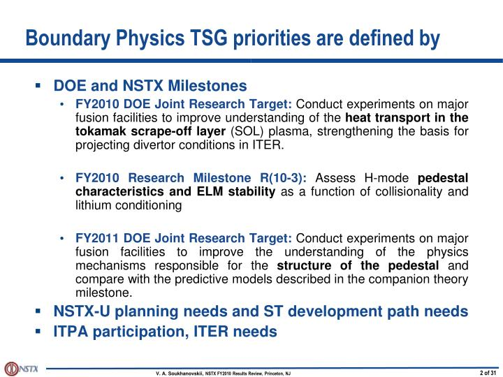 Boundary physics tsg priorities are defined by