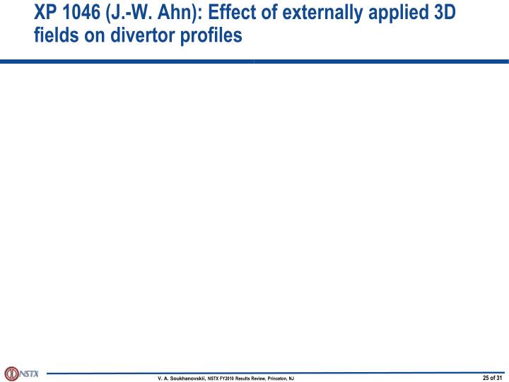 XP 1046 (J.-W. Ahn): Effect of externally applied 3D fields on divertor profiles