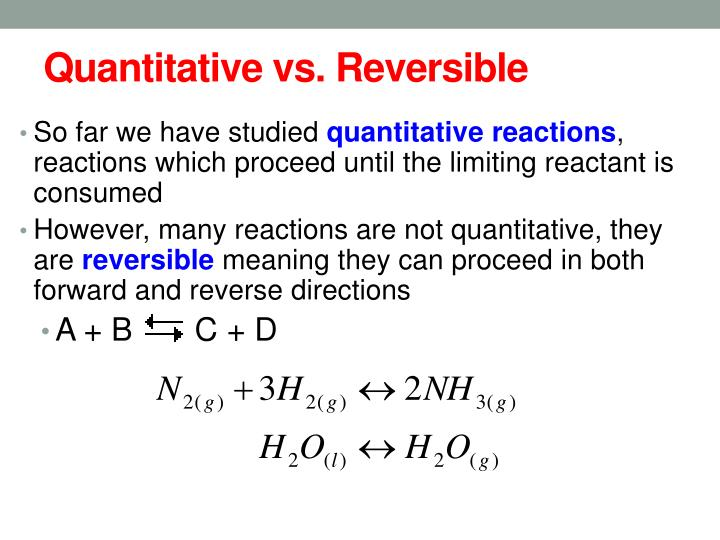 Quantitative vs reversible