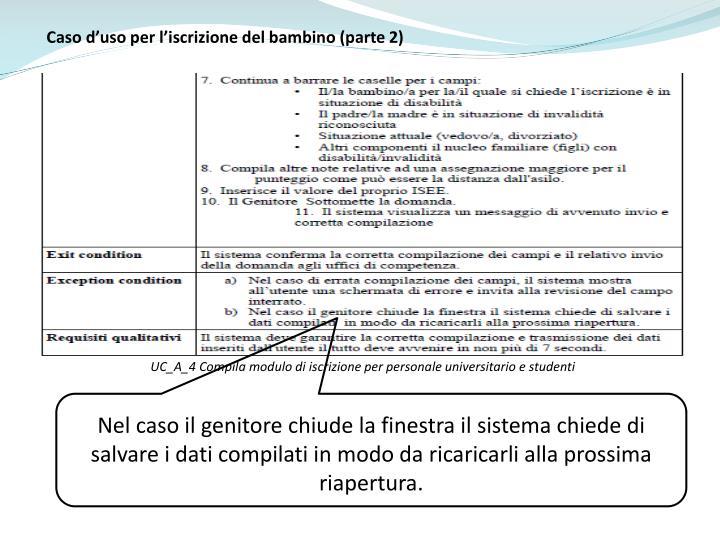 Caso d'uso per l'iscrizione del bambino (parte 2)