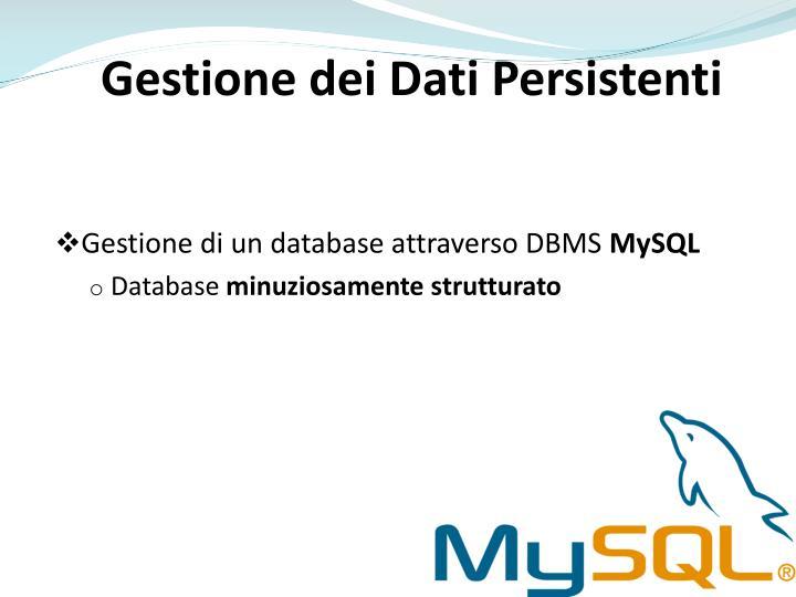 Gestione dei Dati Persistenti