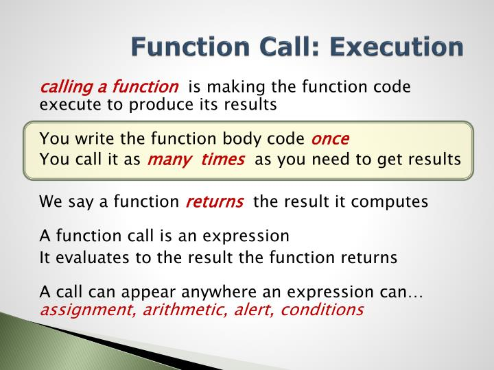Function Call: Execution