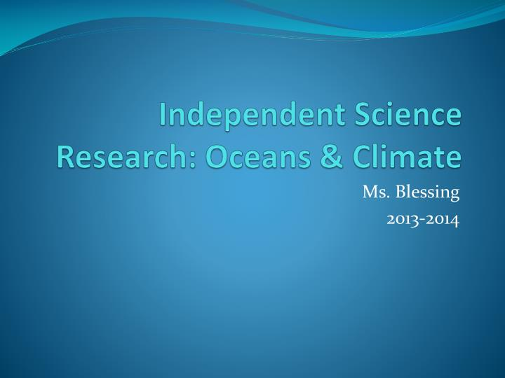 Independent science research oceans climate