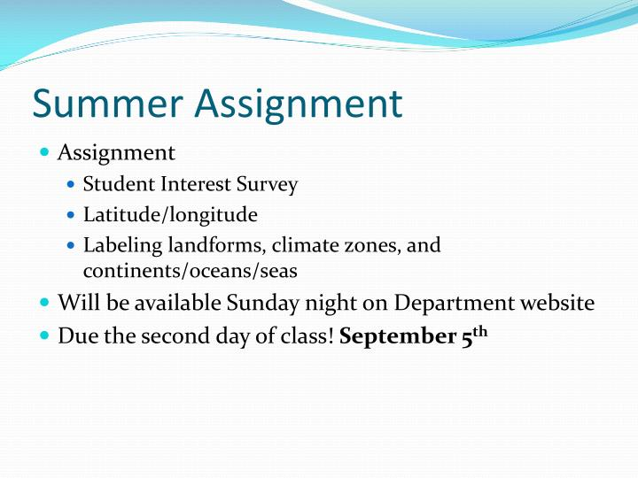 Summer Assignment