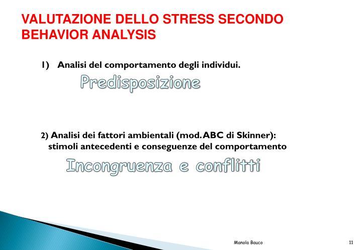 VALUTAZIONE DELLO STRESS SECONDO BEHAVIOR ANALYSIS