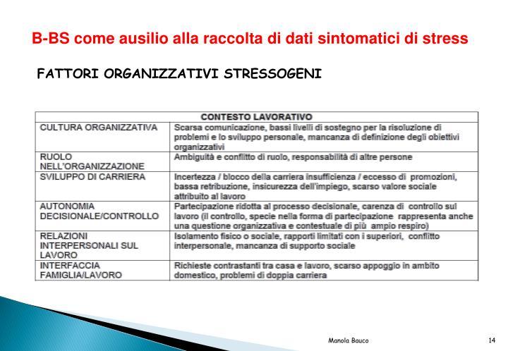 B-BS come ausilio alla raccolta di dati sintomatici di stress
