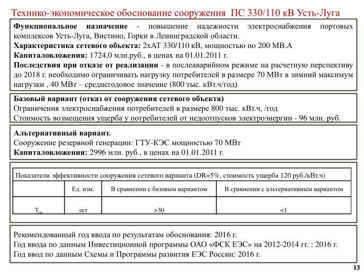 Технико-экономическое обоснование сооружения  ПС 330/110 кВ Усть-Луга